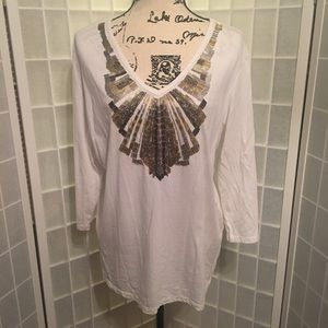 Chico's Size 3 (XL) White Long Sleeve Top